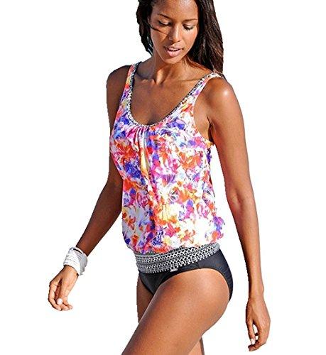 Minetom Damen Sommer Sexy Farbdruck Tankini Set Bademode Oversize Gedruckt Bandeau Bikini-Sets Oberteile + Höschen Strand Orange DE 44 (Crew J Trainingshose)
