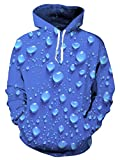 Loveternal Unisex 3d gotas azules camisas cuello redondo peso ligero fresco impresa suéter sudaderas con capucha para mujer para hombre L