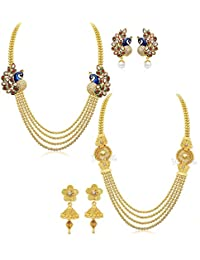 YouBella Jewellery Gold Plated Combo Of Two Traditional Necklace set for women party wear Jewellery set with Earrings For Girls/Women