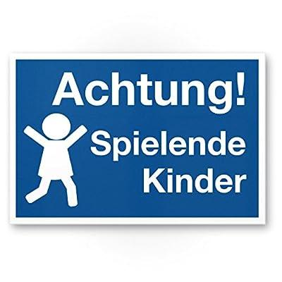 Achtung Spielende Kinder Schild (blau-weiß, 20 x 30cm), Hinweisschild, Warnzeichen, Warnschild - Verkehrsschild langsam fahren, Warnung, Hinweis Spielstraße und Spielplatz - Vorsicht spielende Kinder