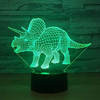 3D Illusion Led Lamp,Dinosaur Gifts Toys Decor LED Night Light Lamp 7 Colors Touch Control USB Powered Party Decoration Lamp,3D Visual Lamp for Home Décor Xmas Birthday Gifts