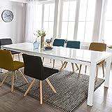Wohnling Esszimmertisch Glory 140 x 76 x 90 cm ausziehbar Hochglanz weiß Metall Holz | Küchentisch für 6-8 Personen | Design Esstisch rechteckig um 2 x 45 cm erweiterbar