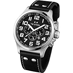 TW Steel Pilot Unisex Quartz Watch with Black Dial Chronograph Display and Black Leather Strap TW412