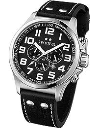 TW Steel Unisex-Armbanduhr Pilot Chronograph leder schwarz TW412