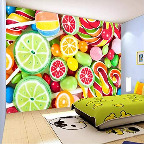 Sucsaistat Tapetenwandbild 3D Wandbilder Bunte Lollipop Candy Kinderzimmer Hintergrund Wandbild, 400 * 280Cm