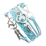 VJGOAL Damen Armband, Unendlichkeit Liebe Herz Perle Freundschaft Antik Leder Charm Armband Frau (Länge: 17 cm, C)