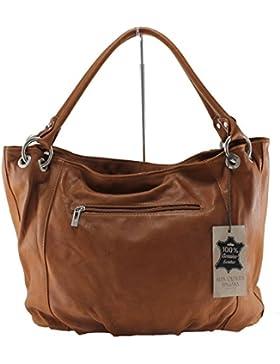 CTM stilvolle Frauen Tasche mit Griffen, 48x28x16cm, 100% echtes Leder Made in Italy
