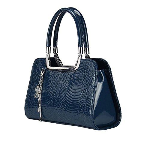 YipGrace Donne Retro Coccodrillo Dottore Style Zipper Riveted Strap Tote Faux Borse A Spalla In Pelle Blu