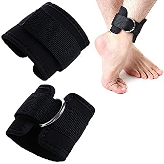 AsentechUK® 2pcs Black Ankle Strap D-ring Multi Gym Cable Attachment Thigh Leg Pulley Weight Lifting