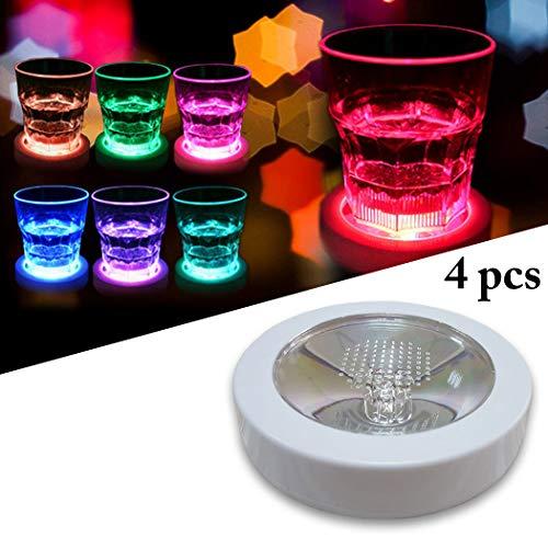 JUSTDOLIFE Cup Coaster Bunte LED Leuchten Untersetzer Trinken für Bar Club Party