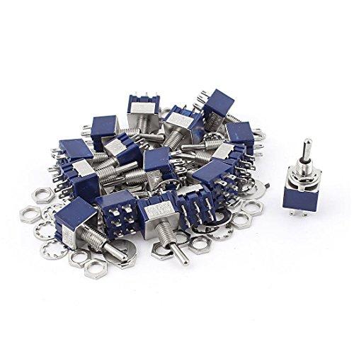 Kippschalter - TOOGOO(R) 20 Stueck AC 125V 6A Ein-Aus-EIN DPDT Sperrung Mini Kippschalter Blau 6mm 125v Motor