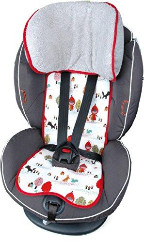 Preisvergleich Produktbild PRIEBES FELIX Sitzauflage für Autokindersitz Gruppe 1 | Universal Sitzeinlage für Kindersitze | Schonbezug 100 % Baumwolle | waschbar & atmungsaktiv | einfache Befestigung | beidseitig verwendbar, Design:rotkäpchen