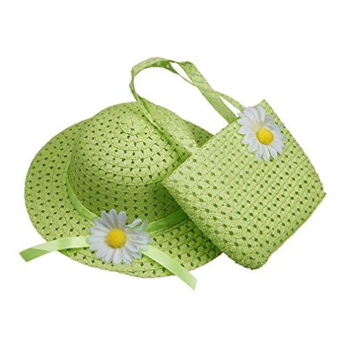 EOZY 1 Lot de Chapeau de Soleil Chapeau de Paille avec une Grande Fleur Sac à Main assorti en Paille pour Bébé Enfant Fille (#8 Vert)