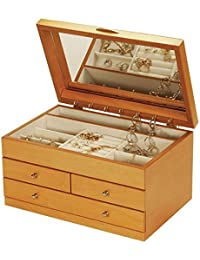 """""""Keira"""" Extra Large Inlayed Marquetry Top Lid Oak Wood Finish Jewellery Box by Mele & Co"""