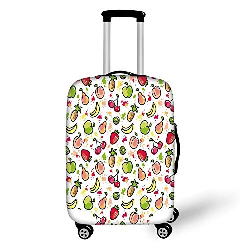 Travel Luggage Cover Suitcase Protector,Fruits,Watercolor Pear Cherries Kiwi Apple Brushstroke Splashes Cute Kids Kitchen Decorative,Peach Lime Green Red,for Travel M Apple Bottom Sneakers