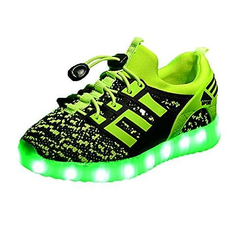 LED leuchtende bunte Sneaker Turnschuhe Unisex Kinder Jungen Mädchen USB Auflade Sportschuhe leichte Schuhe 1832 Grün 26