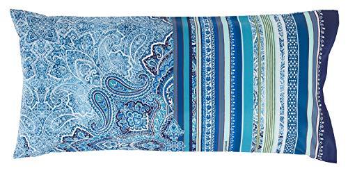 Bassetti Ravello V3 Housse de Coussin, Coton, Bleu, 40x80 cm