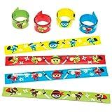 Baker Ross Schnapparmbänder mit Ninjas für Kinder – Perfekt als Kleine Partyüberraschung für Kinder (4 Stück)