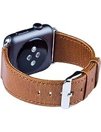 Apple Watch Banda Series 1 & 2, FUTLEX de 42mm , Banda para la muñeca de cuero Heritage auténtico, repuesto de correa con broche para Apple Watch - Marrón - Adaptadores Incluidos