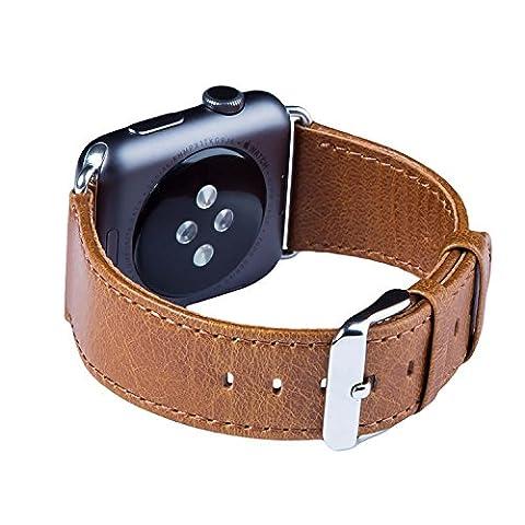 Bracelet Apple Watch, FUTLEX - Bracelet de 38 mm en véritable cuir, bracelet de remplacement avec fermoir classique en acier inoxydable (adaptateur inclus) pour Apple Watch Série 1 et 2 et 3 - Couleur Marron