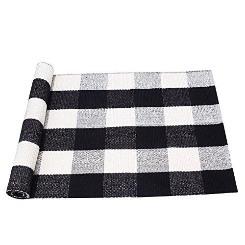 PRAGOO Baumwolle karierten Teppich Modern Küchenteppich Küchenläufer handgewebt Geflochtene Fußboden Teppich Kariert Schwarz Weiß Grau 60x130cm