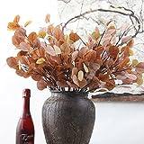 GSYLOL Künstliche Rote Beflockung Eukalyptus Blätter Baum Zweige Pflanzen Blumenarrangements Diy Zubehör Home Hochzei