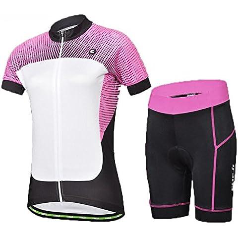 iMaySon Mujer 3d acolchado Corto Set Devil estilo de secado rápido manga corta de ciclismo para calzoncillos, Mujer, rosa,