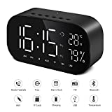 Digital-Wecker Bluetooth Dual-Lautsprecher FM-Radio mit Premium HD Sound Stereo & Große LED-Anzeige für Zeit/Datum/Temperatur, 3,5 mm Aux/Micro SD/TF/USB