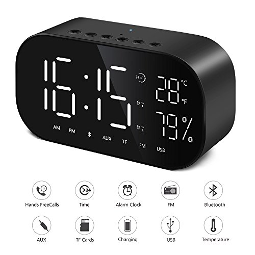 Digital-Wecker Bluetooth Dual-Lautsprecher FM-Radio mit Premium HD Sound Stereo & Große LED-Anzeige für Zeit / Datum / Temperatur, 3,5 mm Aux / Micro SD / TF / USB
