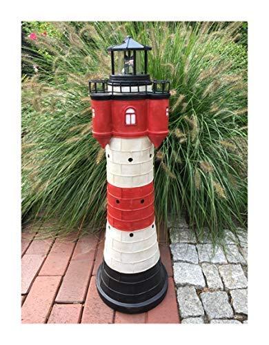 Garten Deko Figur Solar Leuchtturm 80 cm mit LED Beleuchtung Modell Roter Sand | liebevoll hand gefertigte und Dekoration für Garten Terrasse oder Balkon...
