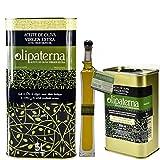 Kaltgepresstes Extra Natives (Virgin) Olivenöl aus Andalusien Olipaterna Säure 0,3 1A | 100% natürliches & reines Olivenöl für Feinschmecker | 5 L Kanister + 250 ml Kanister + 100 ml Glas