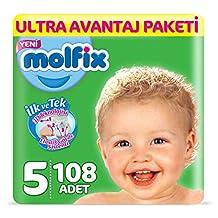 Molfix 3D Bebek Bezi, Junior 5 Beden, Ultra Avantaj Paketi 108 Adet
