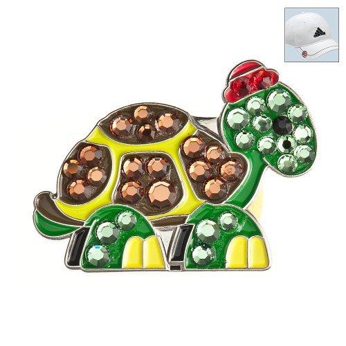 Bonjoc Swarovski Crystal Golf Ball Marker & Hat Clip-Schildkröte