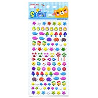 Craftplay Assorted mini 3D Stickers (One Sheet: 19.5 cm x 9.5 cm) hedgehogs, stars, flowers, toadstools, clouds. 0.5 to 1.5 diameter