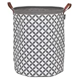 Sealskin Wäschekorb Diamonds, Wäschesammler aus Stoff mit Griffen in Lederoptik, Farbe: Grau, 50 x 40 x 40 cm