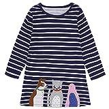 Anywow Nette Kleinkind Baby Mädchen Cartoon Tier Casual Playwear Kleid Kinder Baumwolle Langarm Kittel Prinzessin Kleider 1-7 Jahre