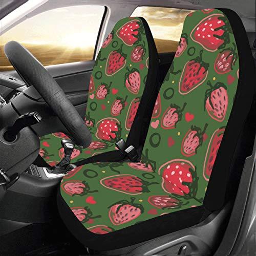 Zucker Süße Erdbeere Frucht Benutzerdefinierte Neue Universal Fit Auto Drive Autositzbezüge Protector Für Frauen Automobil Jeep Lkw Suv Fahrzeug Full Set Zubehör Für Erwachsene Baby (set Von 2 Front) -