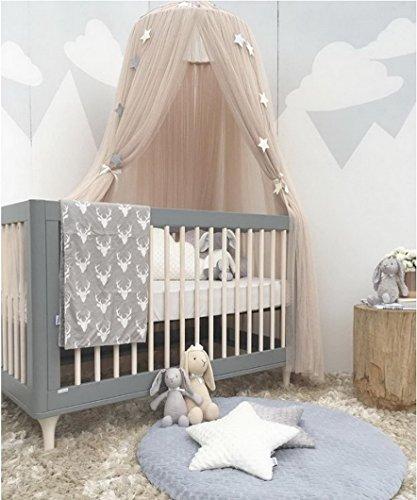 Preisvergleich Produktbild Betthimmel Baldachin Babybett, Restbuy Baldachin Kinderzimmer Betthimmel Moskitonetz Kinderbett Romantische Kuschel und Leseecke mit Himmelbett für ein Schlafzimmer (Khaki)
