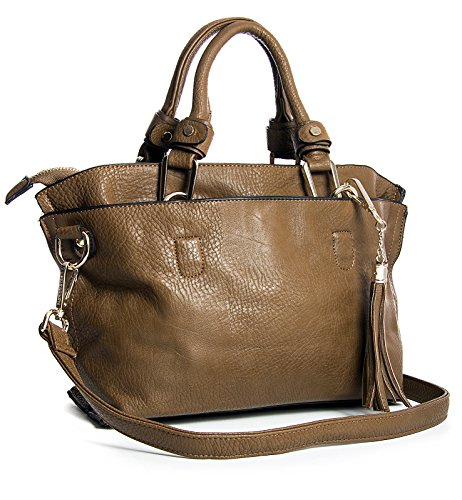 Big Handbag Shop , Damen Satchel-Tasche One, Braun - Medium Tan - Größe: One -
