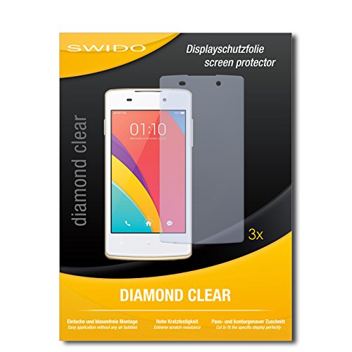 SWIDO 3 x Schutzfolie Oppo Joy Plus Bildschirmschutz Folie DiamondClear unsichtbar