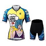 Thriller Rider Sports® Donna Every Thing Will Be Ok Sport e Tempo Libero Abbigliamento Ciclismo Magliette Manica Corta e Pantaloncini Combinazione Medium
