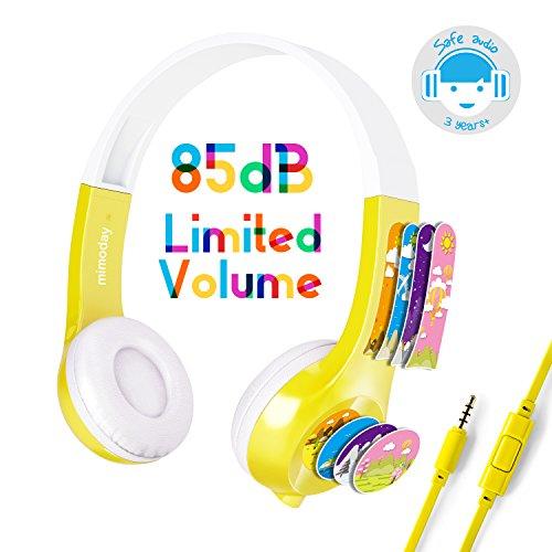 Mimoday Kinder Kopfhörer Begrenzter Lautstärke mit Mikrofon für Jungen und Mädchen iPad iPhone Kindle Fire Tablet Smartphones-Gelb (Kinder-kopfhörer Für Amazon Kindle Fire)