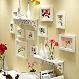 WollWoll Flowers Art with Wall Shelf Sofa Background Large Photo Frame Set (130 cm x 1.6 cm x 70 cm, White)
