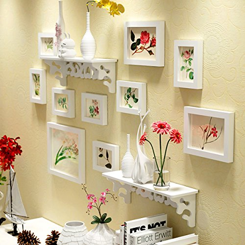 WollWoll Flowers Art with Wall Shelf Sofa Background Large Photo Frame Set...