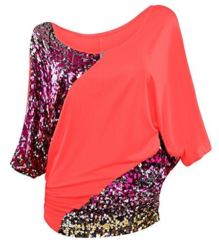 SMITHROAD Damen T-Shirt mit Pailletten Applikationen Fledermaus Shrit Top Kurzarm Dehnbar Rundhalsausschnitt Loose Fit 02 Hellrot