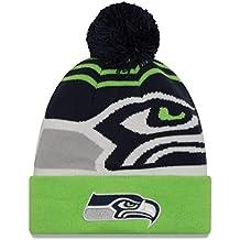"Seattle Seahawks New Era NFL ""Logo Whiz 2"" Cuffed Knit Hat Hut with Pom"