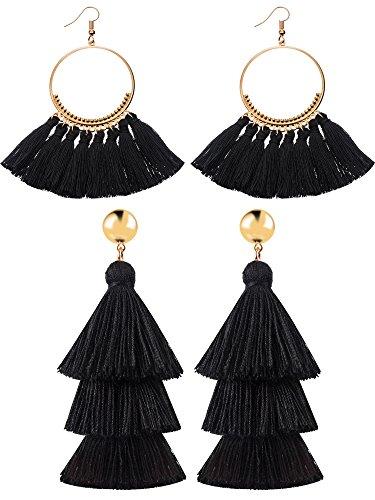 2 Paar Quaste Ohrringe für Frauen Mädchen Handarbeit 3 Tiered Quaste Baumeln Ohrringe und Gold Hoop Ohrringe (Schwarz)