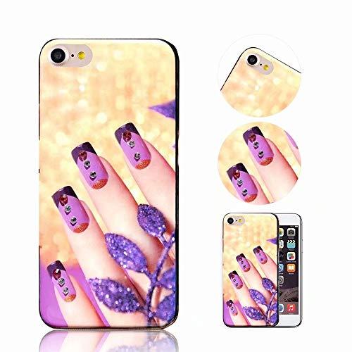 iPhone 6S Hülle, QianYang TPU Silikon Diamant Muster Schutzhülle für iPhone 6S 6 Handyhülle Nägel Mode Protektiv Tasche Schale - Gold Lila