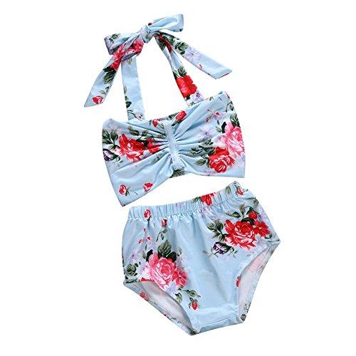 ug Schwimmen Kostüme Mädchen Gedruckt Badeanzug Bikinis Zweiteilige Bademode Halter Bowknot Top + Shorts Alter 0-24 Monat (12 Monat Alten Baby Kostüme)