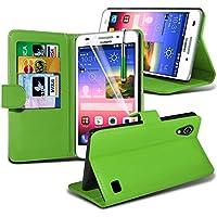 ( Green ) Huawei Ascend G620s Hülle Abdeckung Cover Case schutzhülle Tasche Stylish Designed Book PU-Leder-Mappen-Schlag-2 mit Kredit- / Debitkartensteckplatz-Kasten-Haut-Abdeckung mit LCD-Display Schutzfolie, Poliertuch und Mini-versenkbaren Stift durch Fone-Case